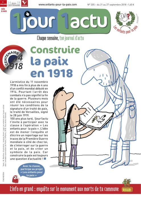 """Couverture """"Les enfants pour la paix"""" 1jour1actu"""